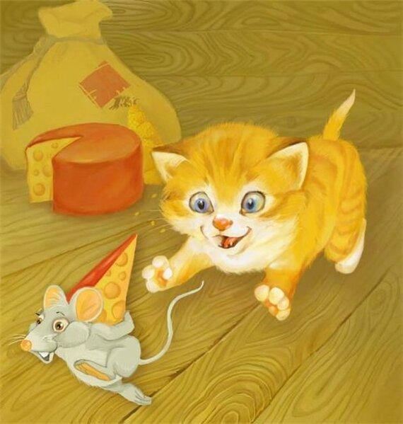картинки кот ловит мышку
