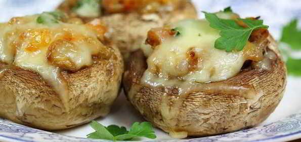 Грибы запеченные с мясом и сыром в духовке рецепт