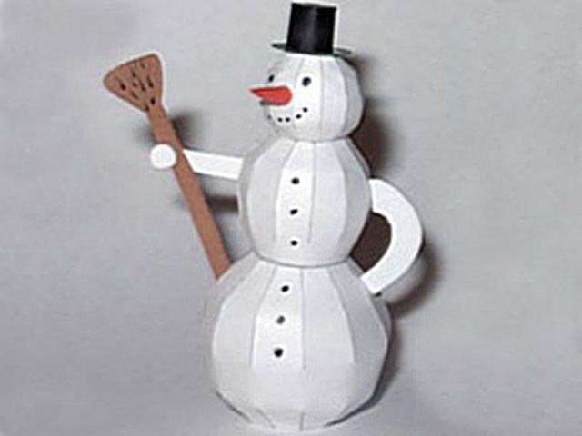 Поделки на новый год из бумаги своими руками снеговик