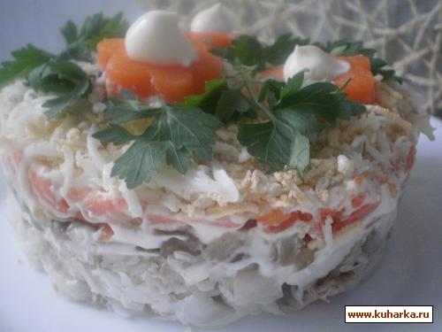 Салат из копченой скумбрии с грибами