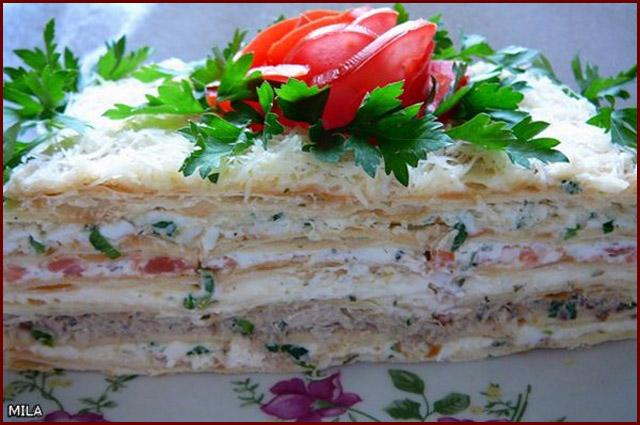 Торт с рыбой рецепт с коржами наполеон