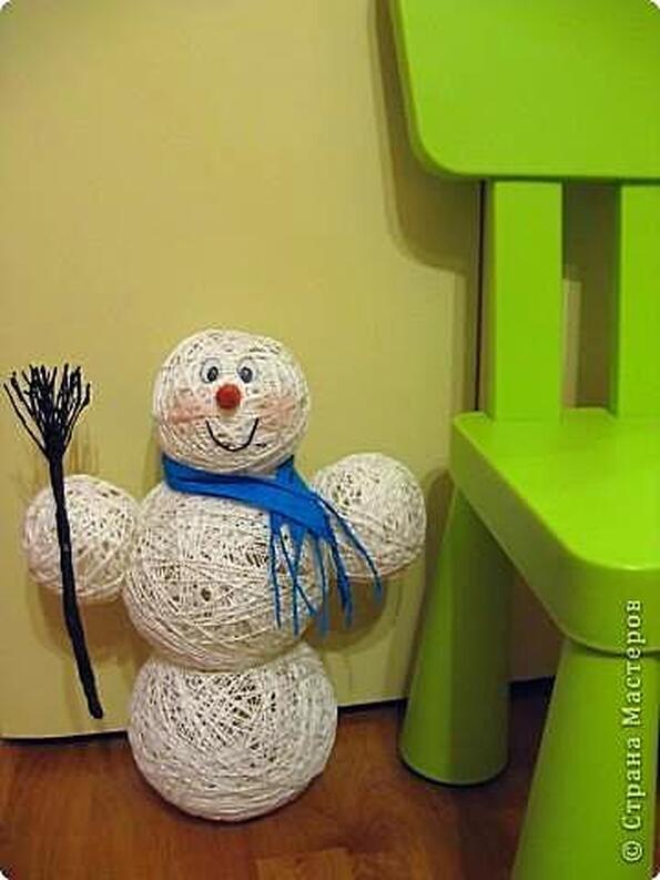 Снеговик из ниток своими руками пошаговая инструкция