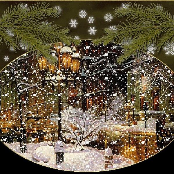 Новогодние открытки с анимацией падающего снега, открытки сентября