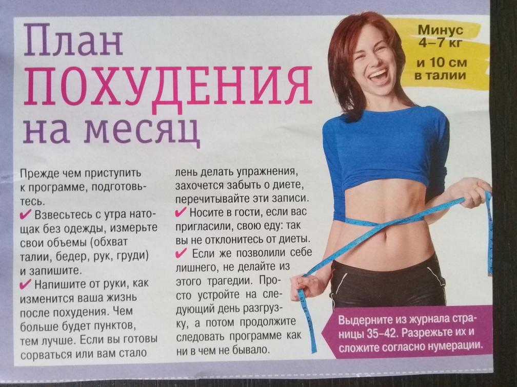 подробный план похудения