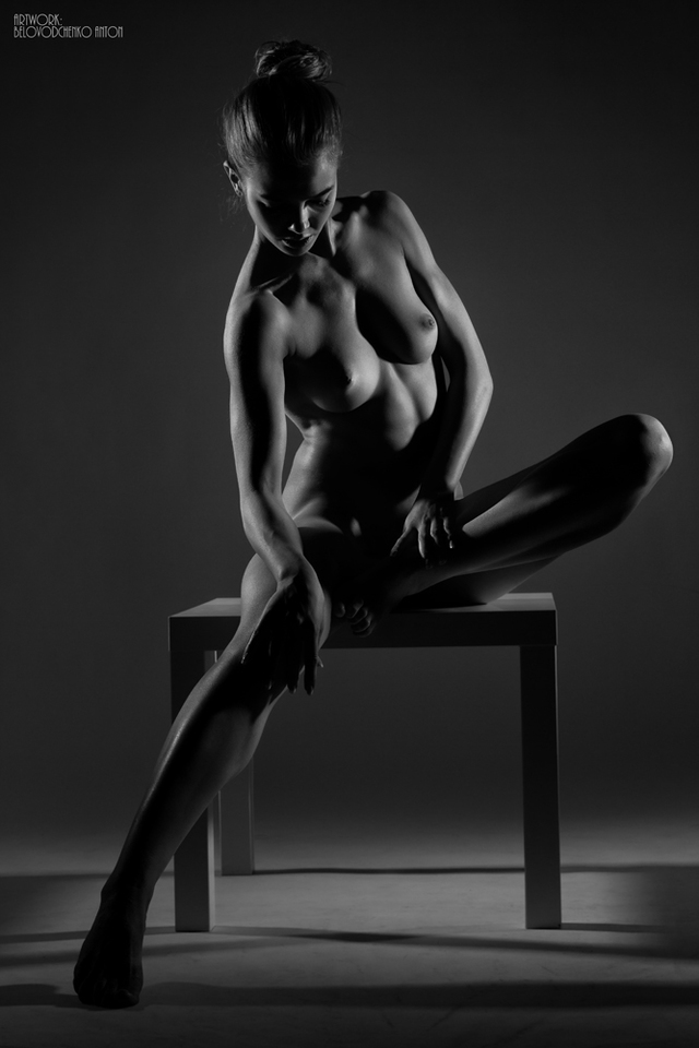 Female Artistic Nude Lingerie Fine Art Black And White Film Print Spangbang 1