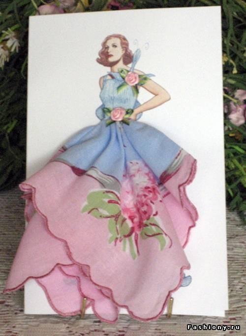 Винтажная открытка из носового платка, женщина-мать картинка открытки