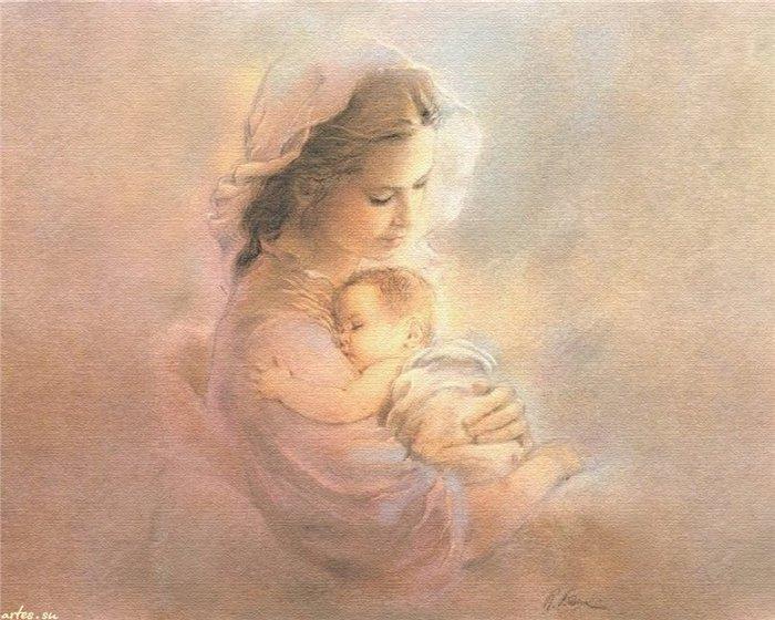 Открытка женщина с ребенком на руках, любимой подруге